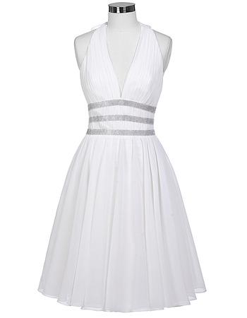 Custom Halter V-Neck Sleeveless Short Chiffon Cocktail Party Dresses