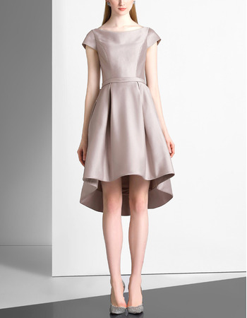 Discount Simple High-Low Short Satin Cocktail Party Dress with Short Cap Sleeves
