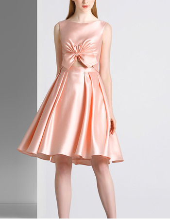 Chic Sexy A-Line Sleeveless Short Satin Deep V-Back Cocktail Party Dresses with Cut Out Waist