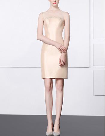 Ultra-feminine Sheath Beaded Illusion Tulle Neckline Sleeveless Short Satin Cocktail Party Dresses