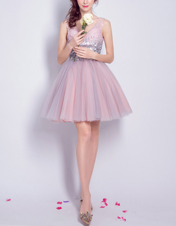 New Style V-Neck Short Organza Sequin Cocktail Party Dresses