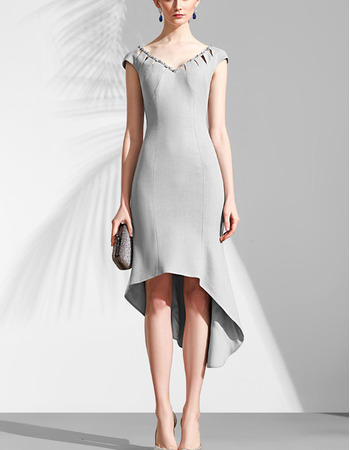 New Style V-Neck High-Low Asymmetric Cocktail Party Dresses