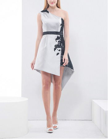 Custom One Shoulder High-Low Asymmetric Embroidery Cocktail Party Dress