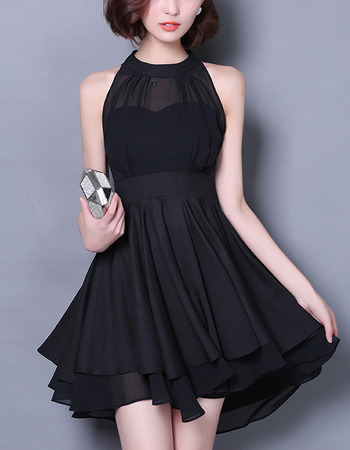 Sexy Halter Sleeveless Short Black Chiffon Cocktail/ Homecoming Party Dress