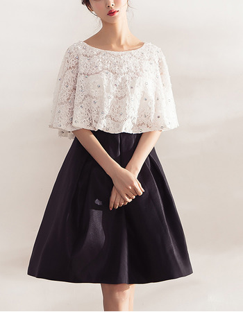 Custom A-Line Short Lace Overall Satin Skirt Cocktail Party Dresses