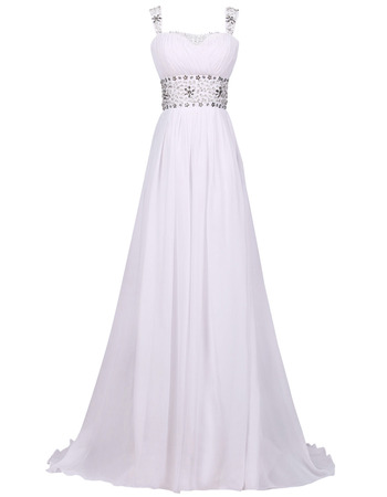 Elegantly Pleated Chiffon Evening Dresses with Crystal Beaded Waist and Straps
