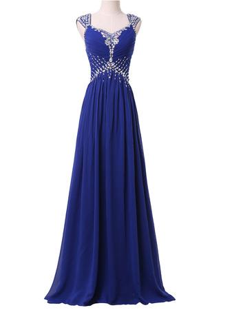 Elegantly Sweetheart Pleated Chiffon Evening Dresses with Twinkle Rhinestone Beading Detail