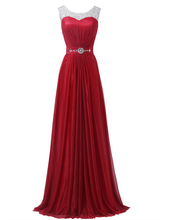 Graceful Formal Pleated Evening/ Prom Party Dresses with Rhinestone Beading Detail