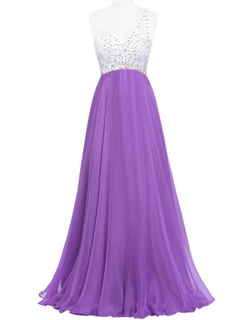 New Style One Shoulder Long Chiffon Beading Evening/ Prom Dresses