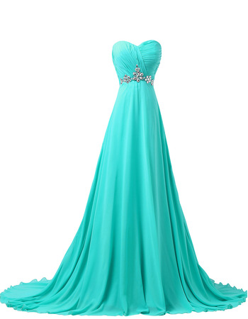Elegance Sweetheart A-line Chiffon Evening/ Prom Party Dresses with Rhinestone Detail