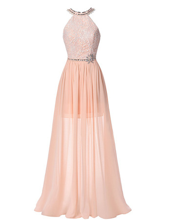 Sexy Halter-neck Floor Length Chiffon Evening/ Prom Dresses with Backless