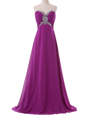 Empire Sweetheart Floor Length Chiffon Evening/ Prom Dresses