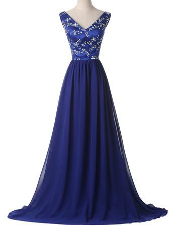 Shimmering V-Neck Satin Chiffon Evening/ Prom Dress with Crystal Beading Bodice