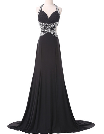 Shimmering Crystal Beading Halter-neck Chiffon Evening Dresses with Sexy Backless
