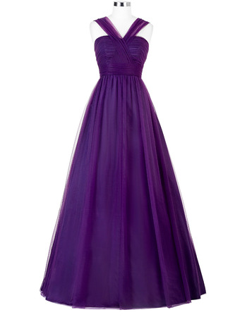 Simple A-Line Floor Length Pleated Tulle Evening/ Prom Dresses