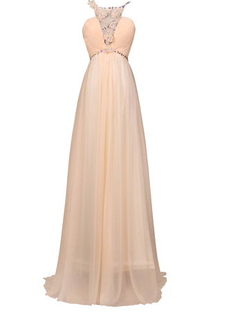Alluring Beaded Spaghetti Straps Chiffon Evening/ Prom Dresses with Deep V-neck