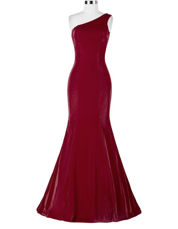 Discount Sheath One Shoulder Floor Length Satin Evening/ Prom Dresses