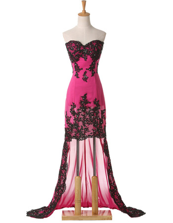 Sexy Beading Appliques Sweetheart Chiffon Evening/ Prom Dresses with High-Low Asymmetric Hem