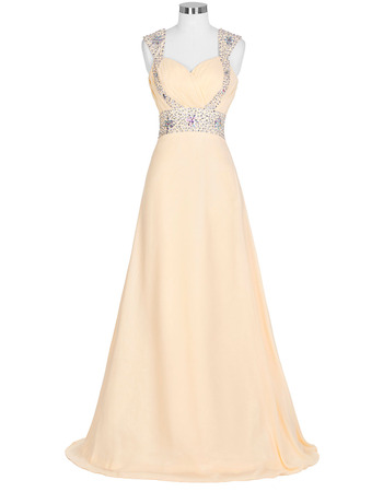 Beautiful Sweetheart Chiffon Evening Dresses with Beaded Waist and Straps