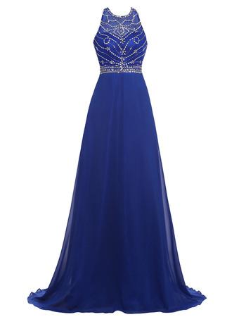 Shimmering Beading Embellished Bodice Chiffon Beading Evening/ Prom Dresses