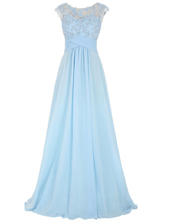 Classy Beading Applique Bodice Chiffon Evening/ Prom Dresses with Illusion Back