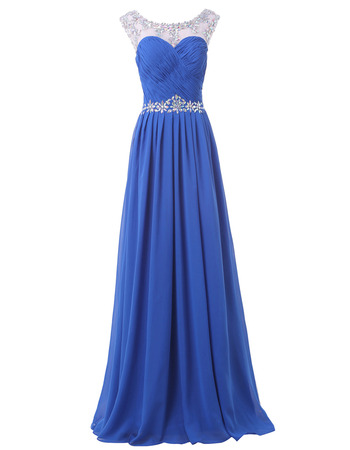 Attractive Pleated Chiffon Evening/ Prom Dresses with Rhinestone Neckline and Waist
