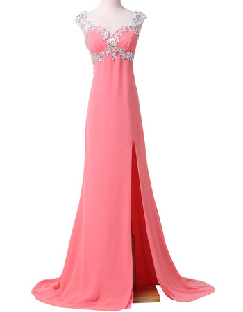New Style Sweetheart Sweep Train Chiffon Split Evening Dresses