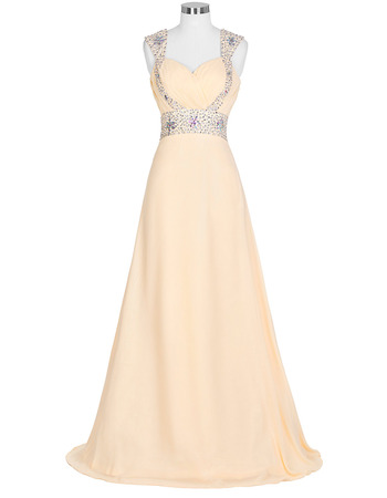 Affordable Sweetheart Floor Length Chiffon Evening Dresses with Straps