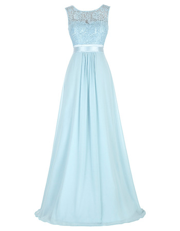 Elegant Sleeveless Floor Length Chiffon Evening/ Prom Dresses with Lace Bodice