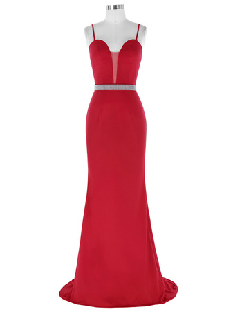 Sheath Sweetheart Chiffon Evening Dresses with Spaghetti Straps
