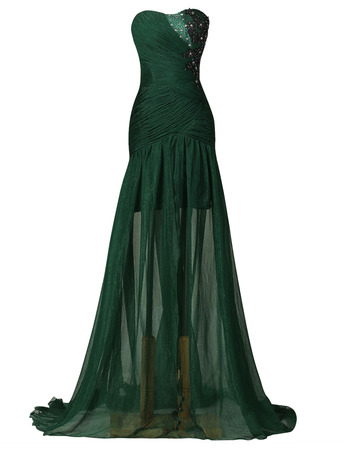 Custom Sheath Sweetheart Long Pleated Split Lace-Up Evening Dresses