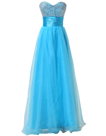 Shimmering Crystal Beading Bodice Evening Dresses with Pleated Waist and Organza Skirt