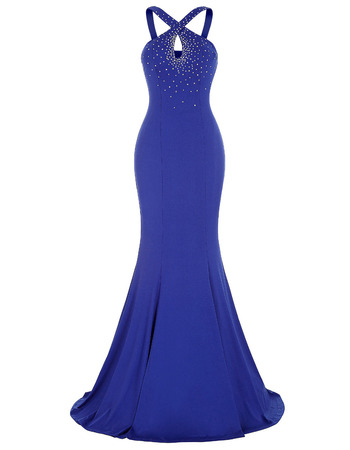 Sheath Sleeveless Floor Length Chiffon Evening Dress with Straps