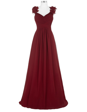 Simple Sweetheart Pleated Chiffon Evening Dresses with Ruffle Straps