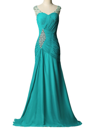 New Sheath Sweetheart Sweep Train Chiffon Pleated Evening Dresses