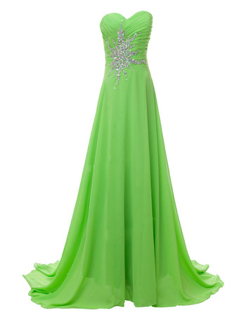 Elegantly A-Line Sweetheart Chiffon Evening Dress with Rhinestone Detail
