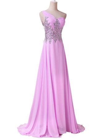 Affordable One Shoulder Chiffon Evening Dress with Shimmering Rhinestone Bodice