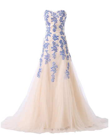 Elegant Sweetheart Long Satin Tulle Evening Dresses with Embroidery