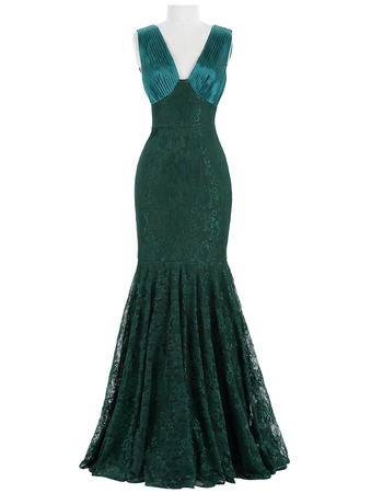 Sexy Mermaid Deep V-Neck Sleeveless Lace Evening Dresses with Ruched Detail