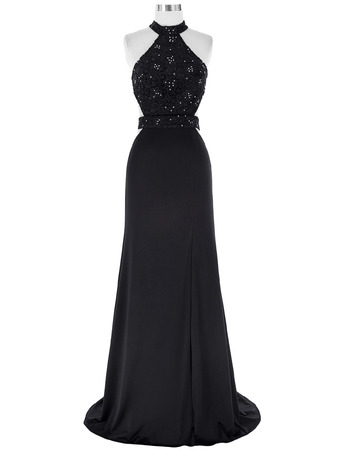 Sexy Halter Sleeveless Chiffon Black Embroidery Evening Dresses