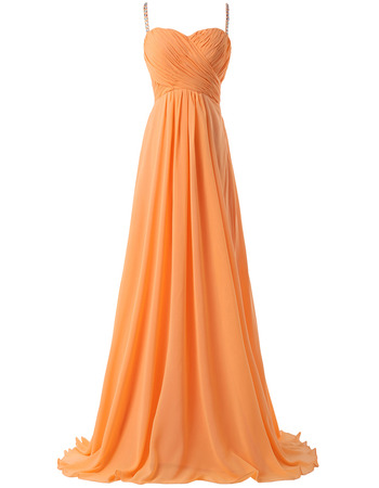 New Spaghetti Straps Floor Length Chiffon Evening/ Prom Dresses