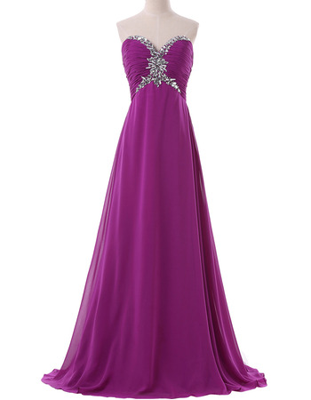 New Sweetheart Empire Floor Length Chiffon Evening/ Prom Dresses