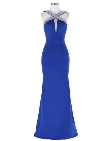 Seductive Sheath Floor Length Satin Evening Dresses with Cross Straps