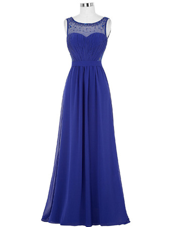 Elegantly Beaded Illusion Neckline Pleated Chiffon Evening/ Prom Party Dresses