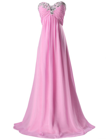 Elegant Sweetheart Floor Length Chiffon Lace-Up Evening Dresses