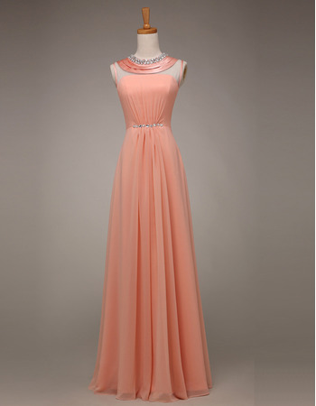 Elegant Sleeveless Floor Length Chiffon Evening/ Prom Party Dresses with Crystal Neckline
