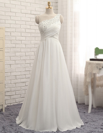 New Arrival One Shoulder Floor Length Ruching Chiffon Beach Wedding Dresses with Beaded Crystal Detailing