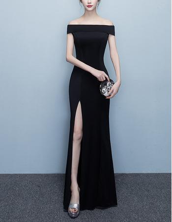 Simple Off-the-shoulder Floor Length Satin Evening Dresses with Split Skirt
