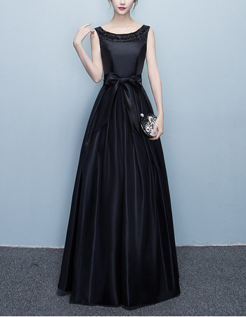 Perfect Beaded Neckline Pleated Satin Evening Dresses with Bow Keyhole Back