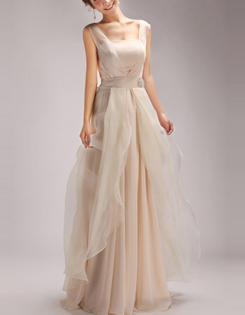 Elegant Organza Over Chiffon Evening/ Prom Party Dresses with Split-front Overlay